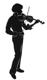 Standing violin player in silhouette (c) Joy Yarbrough.