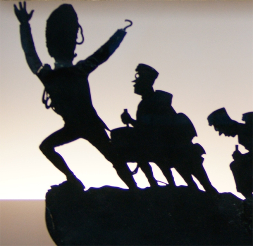 Image of piece of cut-out that would be mounted to a stick for use in the shadow theater performed at Le Chat Noir, Paris. From the collection du Musée d'Orsay, Paris. Licensed under Fair use via Wikipedia Collection du Musée d'Orsay, Paris. Licensed under Fair use via Wikipedia -
