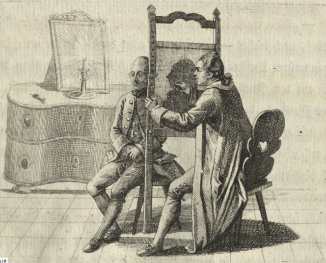 An example of traditional silhouette technique in which the artist basically traces the outline of the face. The vignette was printed in the second volume of Johann Caspar Lavater's treatise on physiognomy, Physiognomische Fragmente, zur Beförderung der Menschenkenntniss und Menschenliebe published in Leipzig between 1775 and 1778. From the collection of the Harvard university's Houghton Library.