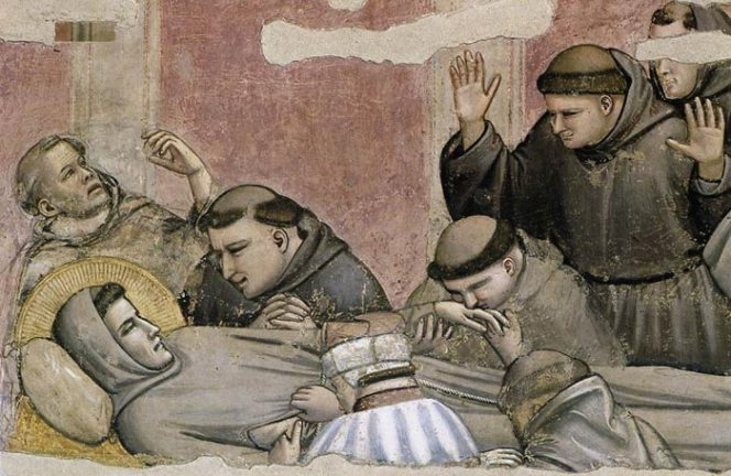Brothers attending to the death of St. Francis by Giotto approx. 1325.  These frescoes were whitewashed in 1700s, through an order of the Medici, in an effort to modernize and simplify the interior of the great churches in Florence. The whitewash was removed in 1852 and the art was restored. In the 1960s they were repaired from the restoration in 1852. In 1966 the great flood damaged much of the church. That cleaning work lasted at least 10 years.
