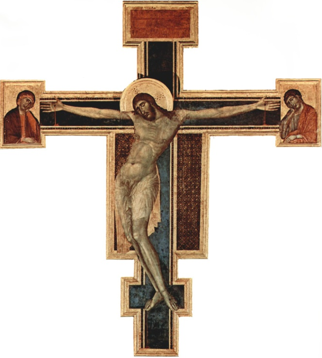 Crucifix by Cimabue. Created in 1280 for the altar. Heavily damaged in the flood of 1966. Now in the first room of the Santa Croce Works Museum.