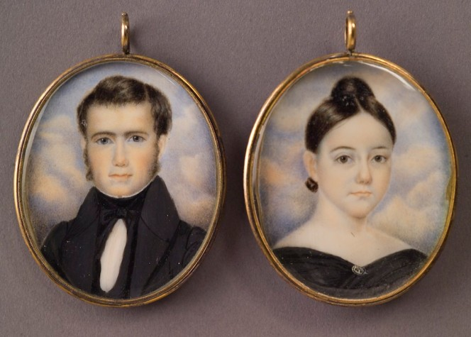 Tiny miniature portraits frequently painted in watercolor or gouache to be cherished by the recipient. they are encapsulated in a gold watch frame.