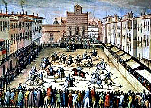 Jousting in the piazza in front of Santa Croce, in the 1800s.