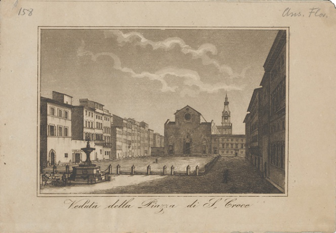 The same piazza in front of Santa Croce years earlier, before the facade of the church was updated starting in 1857.  Emilio Burci, View of the Piazza Santa Croce, mid-19th century, copper engraving, 9.9 x 16.6 cm, Kunsthistorisches Institut in Firenza.