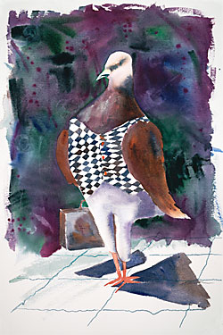 Watercolor painting by Jane M. Mason of a whimsical bird standing upright and carrying a briefcase.