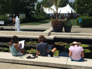 My students sketching at the Lily Pond at the Cleveland Botanical Garden.