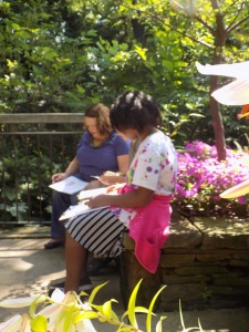 Sketching with students at the Cleveland Botanical Garden. Observing the light, shadows and the myriad greens in the garden.