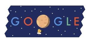 A Google doodle showing Pluto in the name. Google is one of the visible supporters of doodling.