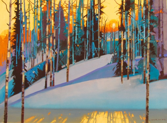 "Flickering Late Light Along the Ridge Trail- 22"" X 30""  acrylic and casein, by Stephen Quiller. (C) This painting will be exhibited in China in 2017."