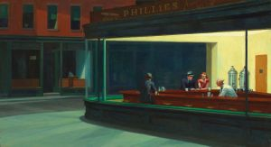 Painting of people sitting at a counter in an urban diner.