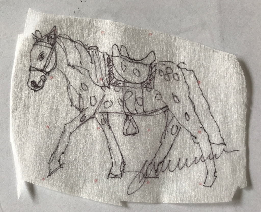 a line drawing of a horse with saddle.